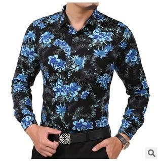 休闲加绒男式针织花衬衫 保暖长袖衬衣男秋冬新款男士长袖衬衫莫菲