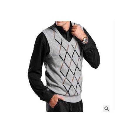 提花中年休闲格子羊毛羊绒针织无袖男式背心品牌V领男士毛线背心莫菲