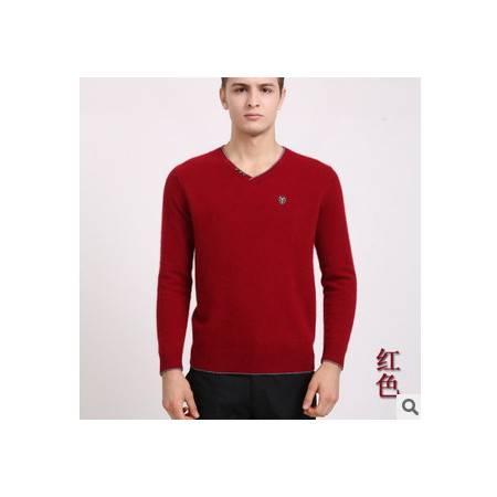 青年休闲v领纯色保暖貂绒男装 羊绒衫男式新款秋冬男士长袖毛衣莫菲包邮