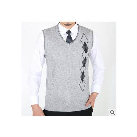 菱形羊毛羊绒针织背心无袖商务男装新款春秋男士毛线背心 莫菲