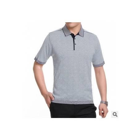 中年商务高端针织条纹桑蚕丝短袖男 t恤男装新款男士短袖t恤莫菲