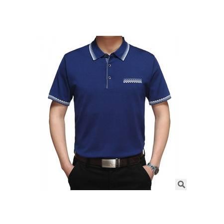 中年休闲纯色翻领桑蚕丝短袖T恤男式夏装新款男士短袖T恤莫菲
