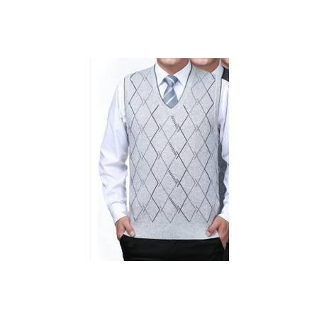 中年V领格子针织羊毛羊绒背心商务无袖男装新款男式毛线背心 莫菲