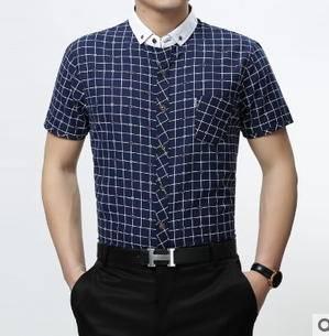 春夏中年商务纯棉格子短袖衬衣男 男装衬衫新款男士衬衫 莫菲