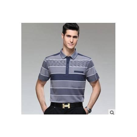 品牌休闲中年男装真口袋翻领条纹纯棉短袖夏季新款男式短袖T恤莫菲