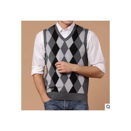 中年春秋羊绒羊毛男式针织菱形背心无袖男装品牌男士毛线背心莫菲