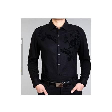 男式新款男式衬衫 商务绅士修身长袖衫男装衬衣潮尊霸