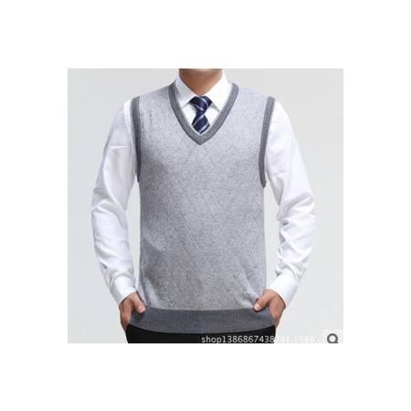 中老年休闲格子加厚V领针织羊毛羊绒背心男秋冬新款男式毛线背心莫菲