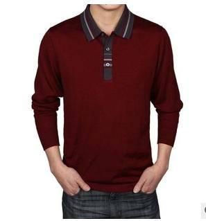 中年商务翻领羊绒纯色长袖 针织男式T恤春秋新款男式长袖t恤莫菲