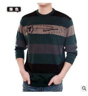 中老年圆领条纹羊毛印花保暖体恤男式男士加厚加绒长袖T恤衫 莫菲
