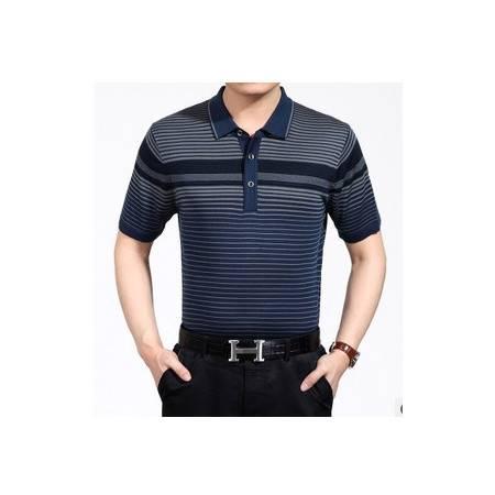 中老年高档休闲短袖条纹翻领桑蚕丝体恤衫夏季新款男士t恤 莫菲包邮