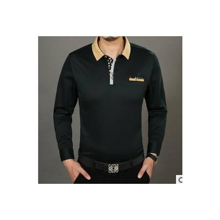 中年商务男装纯色纯棉宽松体恤衫春秋新款男士长袖T恤莫菲
