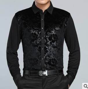 中年商务针织金丝绒衬衣 品牌男式衬衫春秋新款男士长袖衬衫莫菲包邮