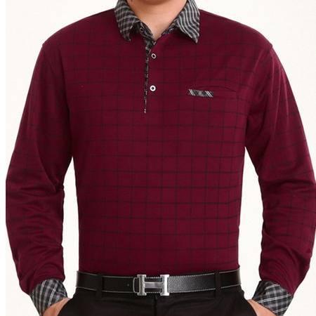 中年休闲男装薄款翻领格子长袖t恤男爸爸装秋季新款男士长袖T恤 莫菲