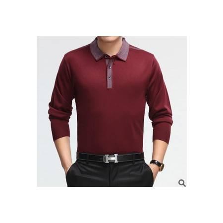 中年商务薄款针织羊毛羊绒T恤品牌男式体恤新款男士长袖t恤莫菲
