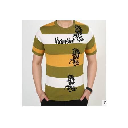 夏季韩版潮男圆领针织桑蚕丝短袖条纹男式体恤新款男士短袖T恤莫菲