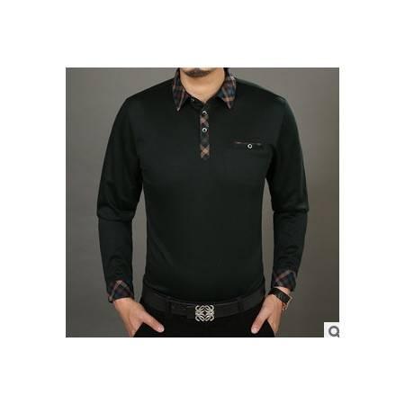 中年格子衬衫领商务男装秋装薄款纯棉体恤新款男士长袖T恤衫莫菲
