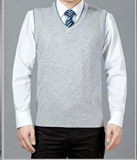 中老年纯色针织羊毛保暖背心无袖男装春秋新款男士毛线背心莫菲