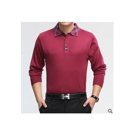 中老年爸爸装宽松羊毛提花针织体恤衫新款春秋装男式长袖T恤莫菲
