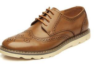 夏季英伦布洛克鞋雕花真皮男鞋男式系带透气休闲复古鞋子卡劲