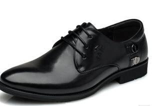 男士商务休闲皮鞋 英伦男鞋正品真皮透气皮鞋男尖头卡劲