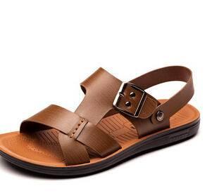 2015新款夏季凉鞋男士沙滩凉鞋休闲正品皮凉鞋潮流露趾懒人鞋卡劲