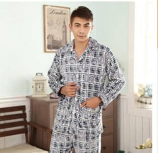 加厚法兰绒男士开衫睡衣家居服套装旭宏睡衣