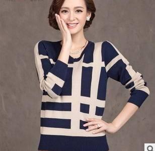 韩版修身时尚条纹拼接V领毛衣针织衫女新款女式羊毛衫套头毛衣洪合