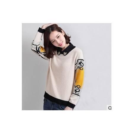毛衣衬衫领套头衫女式针织衫韩版春秋新款娃娃领女装洪合包邮