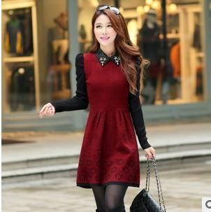 韩版修身针织打底太阳花毛衣新款中长款长袖娃娃领毛衣裙洪合包邮