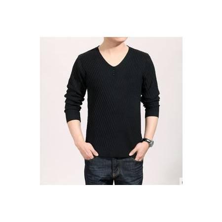 男式韩版修身薄款秋装新款男士长袖T恤V领纯色羊毛针织T恤衫祥盛
