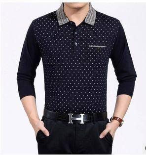 商务中年男T恤薄款秋装新款男士长袖T恤翻领羊毛针织T恤衫祥盛