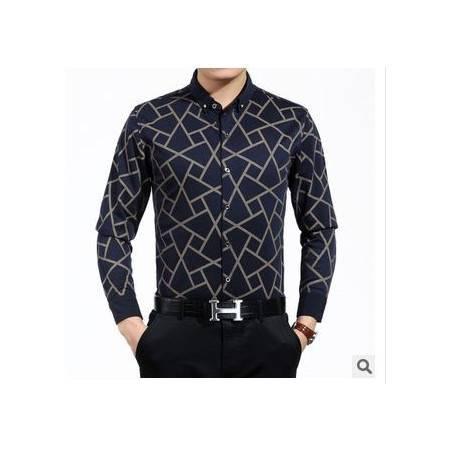 男士春秋薄款衬衫印花新款男式长袖衬衫立领中年商务棉衬衣祥盛