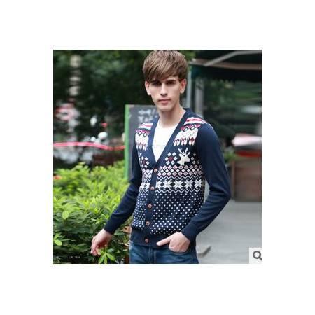外套秋冬装棉新款男式长袖毛衣青年韩版提花针织衫V领开衫祥盛包邮