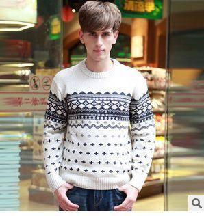 青年加厚保暖春冬装英伦棉线衫新款男士长袖毛衣圆领羊毛衫祥盛包邮