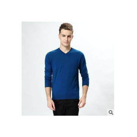 春秋薄款纯色T恤新款男士长袖T恤V领青年100%全羊毛针织T恤衫祥盛包邮