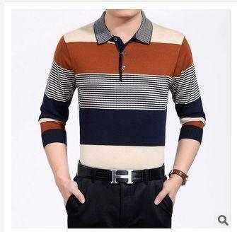中年薄款秋装新款男式长袖T恤翻领条纹羊毛针织T恤衫祥盛