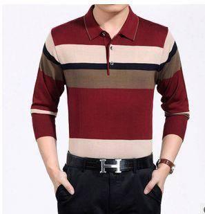 男式长袖薄款春秋装宽松新款男式长袖T恤翻领条纹针织T恤衫祥盛