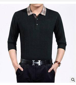 商务中年男T恤爸爸装新款男式长袖T恤翻领纯色羊毛针织T恤衫祥盛