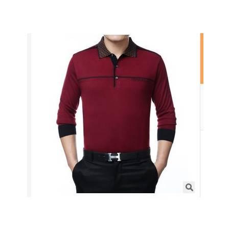 商务中老年爸爸秋装新款男士长袖T恤翻领纯色羊毛针织T恤衫祥盛