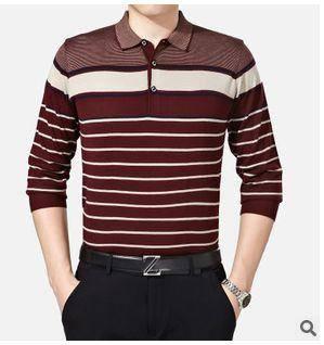 翻领条纹羊毛羊绒针织T恤衫薄款新款秋装男式长袖T恤祥盛