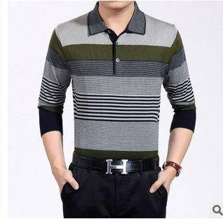 薄款秋装男式T恤新款男士长袖T恤翻领商务中年羊毛针织T恤衫祥盛