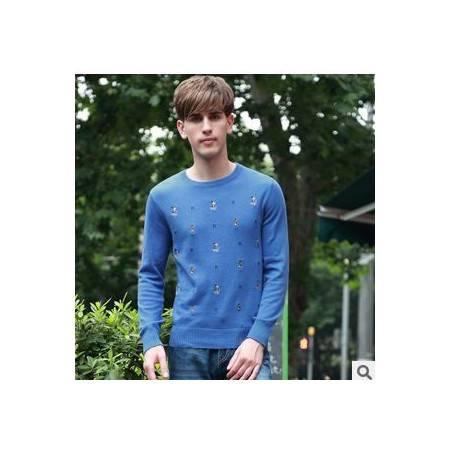 圆领青年韩版针织衫秋冬打底衫男士纯棉线衫新男式长袖毛衣祥盛包邮