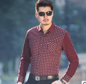 真口袋休闲衬衣薄秋装新款男士长袖衬衫 翻领印花纯棉衬衫男 祥盛