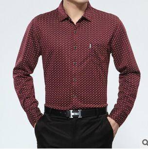 男长袖薄款秋装真口袋衬衫新款男式长袖衬衫翻领印花棉衬衣祥盛