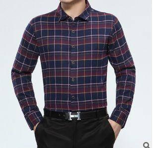秋装薄款中年商务宽松衬衫新款男士长袖衬衫 翻领格子棉衬衣祥盛