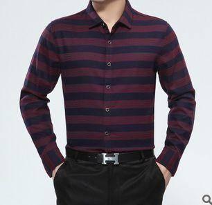 条纹棉衬衣 商务中年爸爸装衬衫新款男式长袖薄款秋装衬衫 祥盛