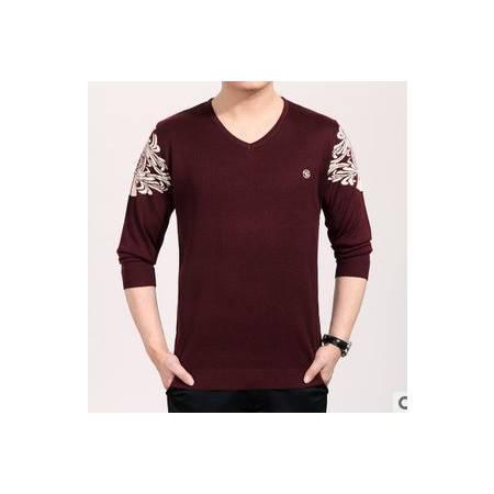 男长袖薄款秋装宽松体恤新款男士长袖T恤 V领羊毛针织T恤衫祥盛