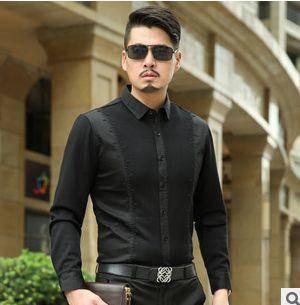 翻领纯色棉衬衣男薄款秋装 商务中年衬衫新款男士长袖衬衫祥盛