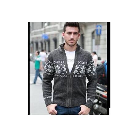 外套男式棉新款春秋男长袖羊毛衫立领加厚毛衣针织衫开衫祥盛包邮